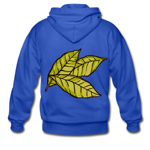 Organic Bay Leaves Heavy Blend Adult Zip Hoodie - royal blue