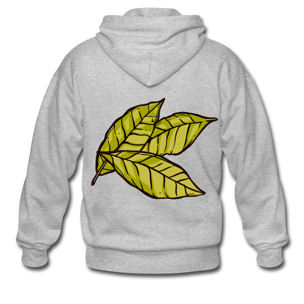 Organic Bay Leaves Heavy Blend Adult Zip Hoodie - heather gray