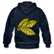 Load image into Gallery viewer, Organic Bay Leaves Heavy Blend Adult Zip Hoodie - navy