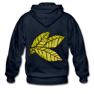 Organic Bay Leaves Heavy Blend Adult Zip Hoodie - navy