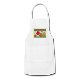 Canada Post Stamp Adjustable Apron - white