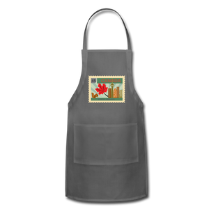 Canada Post Stamp Adjustable Apron - charcoal