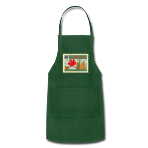 Canada Post Stamp Adjustable Apron - forest green