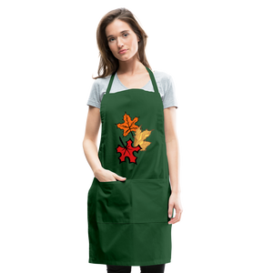Maple Leaves Adjustable Apron - forest green