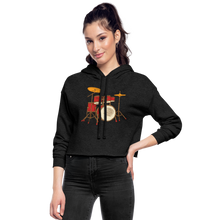 Load image into Gallery viewer, Drum Set  Cropped Hoodie - deep heather