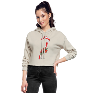 Christmas Candcane Cropped Hoodie - dust