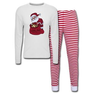 Christmas Unisex Pajama Set - white/red stripe