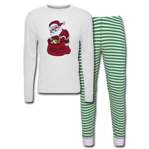 Christmas Women's Pajama Set - white/green stripe