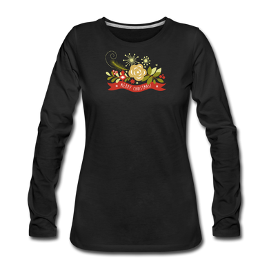 Merry Christmas Slim Fit Long Sleeve T-Shirt - black