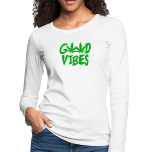 Good Vibes Slim Fit Long Sleeve T-Shirt - white