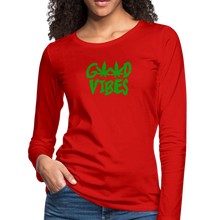Load image into Gallery viewer, Good Vibes Slim Fit Long Sleeve T-Shirt - red