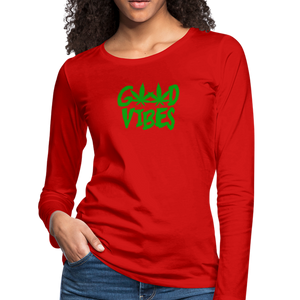 Good Vibes Slim Fit Long Sleeve T-Shirt - red