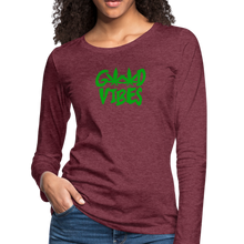 Load image into Gallery viewer, Good Vibes Slim Fit Long Sleeve T-Shirt - heather burgundy
