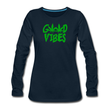 Load image into Gallery viewer, Good Vibes Slim Fit Long Sleeve T-Shirt - deep navy