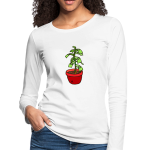 Money Tree Slim Fit Long Sleeve T-Shirt - white