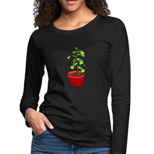 Money Tree Slim Fit Long Sleeve T-Shirt - black