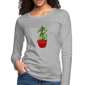 Money Tree Slim Fit Long Sleeve T-Shirt - heather gray