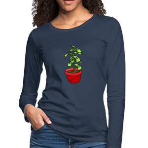Money Tree Slim Fit Long Sleeve T-Shirt - navy