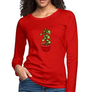 Money Tree Slim Fit Long Sleeve T-Shirt - red