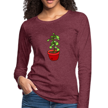 Load image into Gallery viewer, Money Tree Slim Fit Long Sleeve T-Shirt - heather burgundy