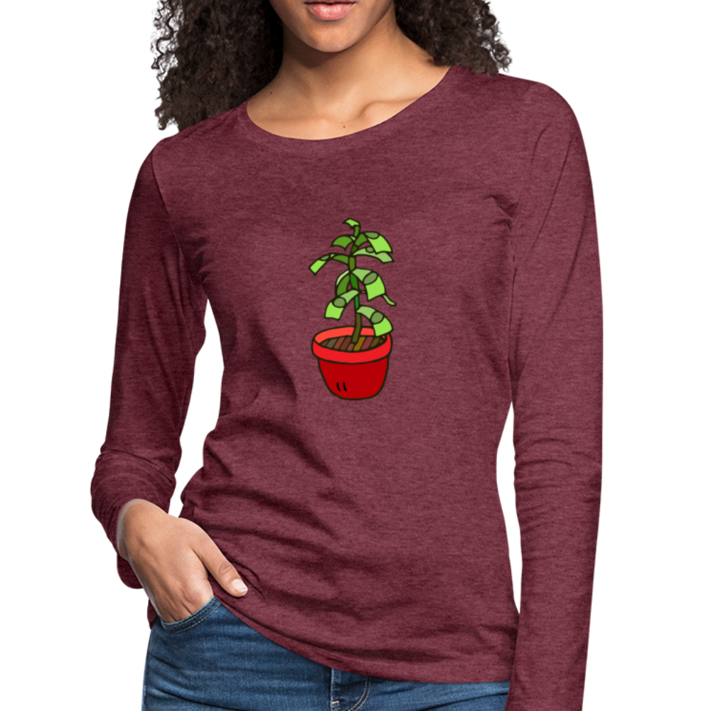 Money Tree Slim Fit Long Sleeve T-Shirt - heather burgundy