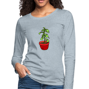 Money Tree Slim Fit Long Sleeve T-Shirt - heather ice blue