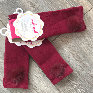 BURGUNDY FUR POM SOCKS