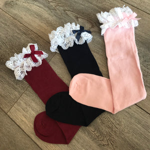 PINK KNEE HIGH WHITE FRILL
