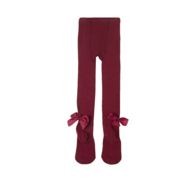 BURGUNDY BOW TIGHTS