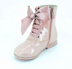 PINK LEATHER BOW BOOTS