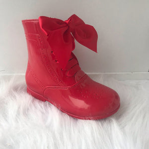 RED LEATHER BOW BOOTS