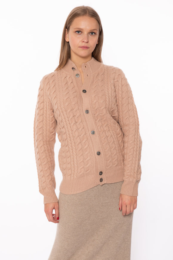Cable V Neck Cashmere Cardicoat