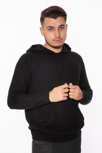 Chunky Black Unisex Cashmere Hoodie