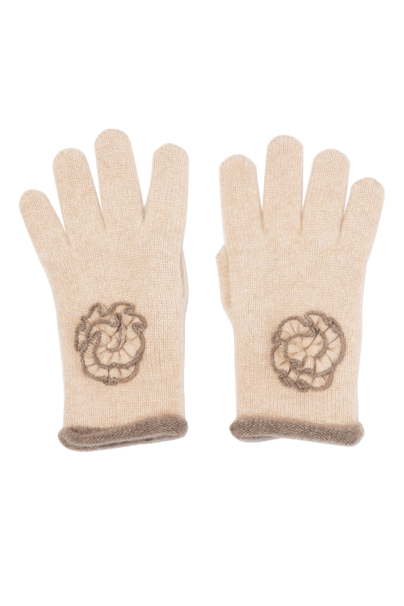 Pure Cashmere Floral Gloves