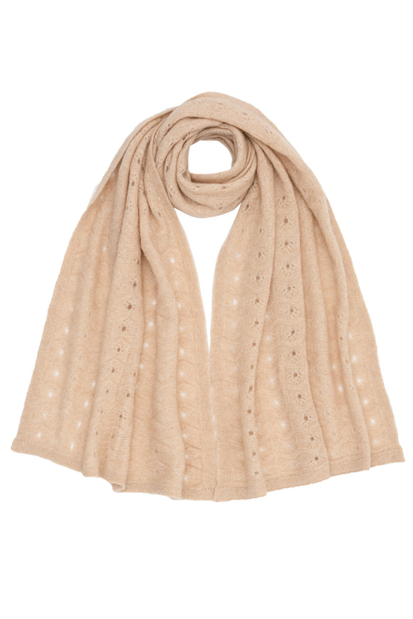 Luxurious Beige 100% Cashmere Shawl