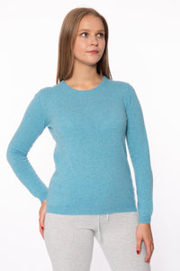 Blue Round Neck Cashmere Jumper