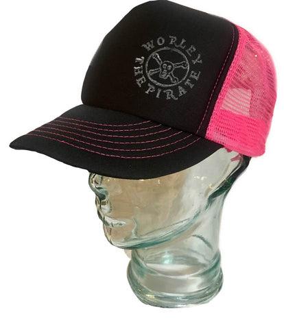 Black & Pink Stamped Hat