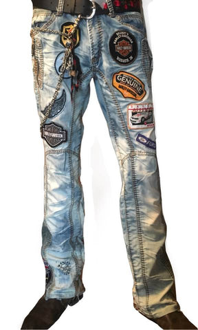 Copy of Distressed Denim Pants with Patchwork II