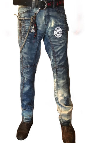 Distressed Denim Pants with Patchwork