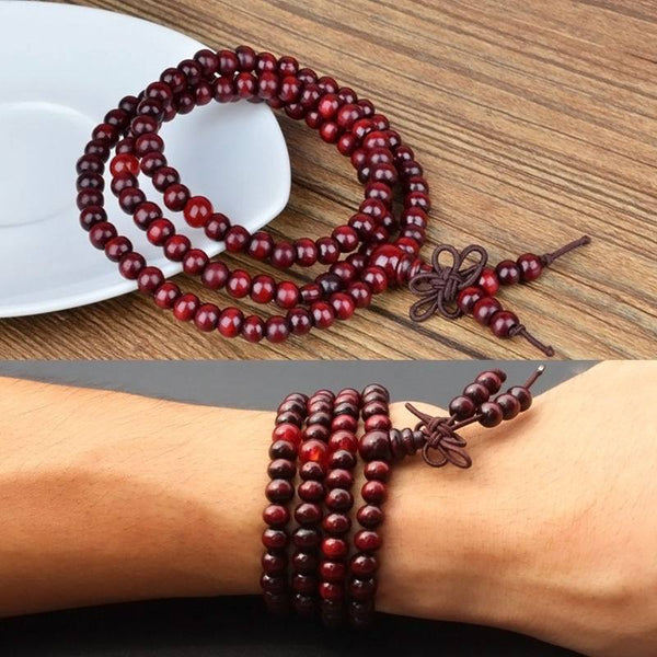 108 Mala beads, red sandalwood