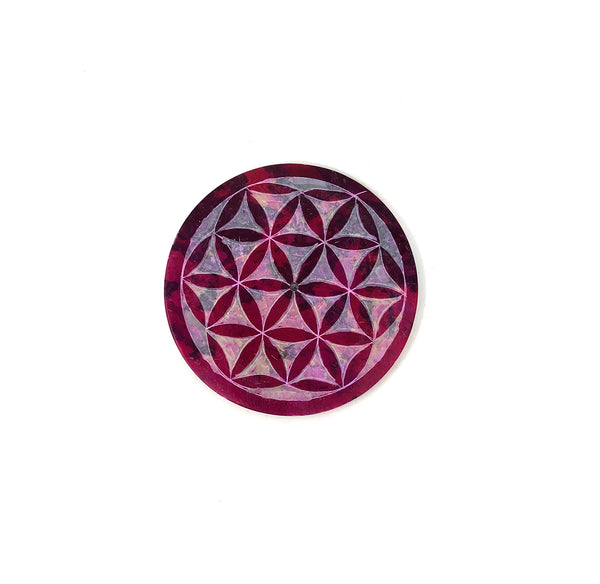 Burner stick (or cone) - Soapstone round plate Flower of Life