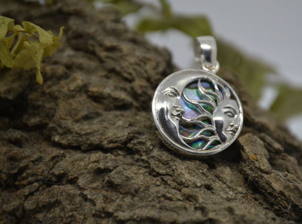 Sterling Silver Pendant, Sun and Moon with Mother of Pearl
