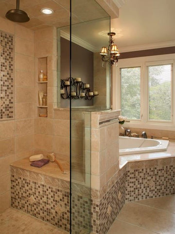 Opening up the walls and creating a glass surround really expanded this bath area