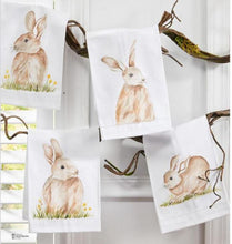 Load image into Gallery viewer, Bunny Handpainted Cotton Guest Towels