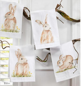 Bunny Handpainted Cotton Guest Towels