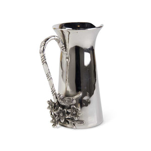 Nickel Water Pitcher With Bird and Twig Accents, 9..75""