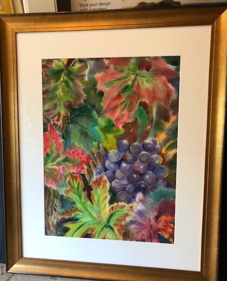 September Vines  Original Water Color Art  framed  23w x 30 h
