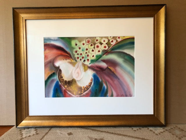 Exotic Flower  Original Water Color Art   30 in x 38 in custom gold frame