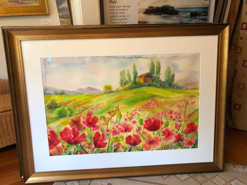 Tuscan Field of Poppies  Original Water Color Art  framed  34 x 48