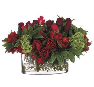 Red and Green Rose ansd Dahlias